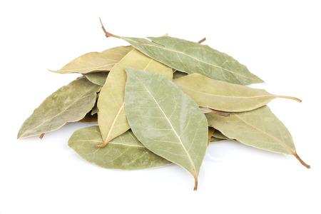 Aromatische laurierblaadjes. Geïsoleerd op witte achtergrond