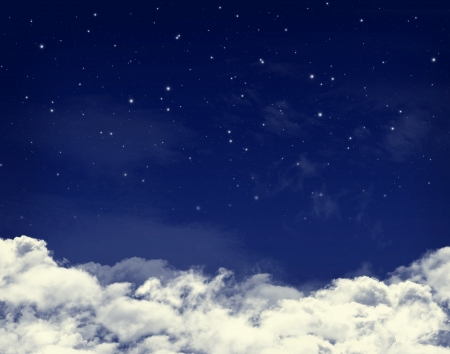 Clouds and stars in a night blue sky background