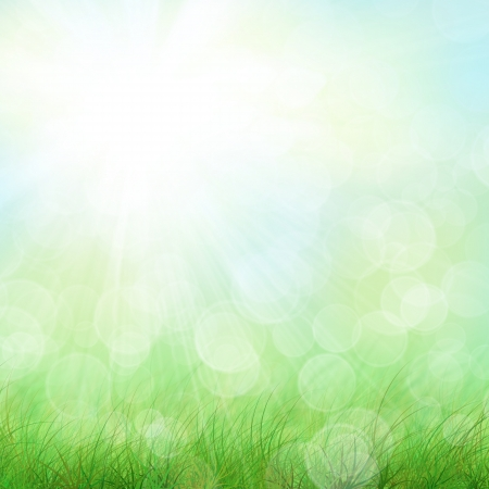 rise to the top: Blue sky, clouds green field grunge background