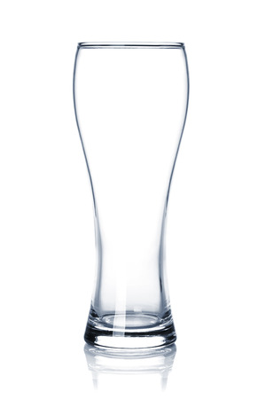 pint: Empty beer glass. Isolated on white background