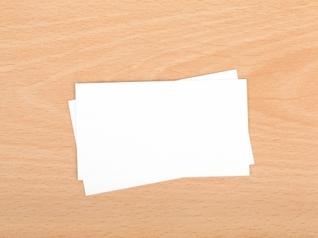 namecard: Blank business cards on wooden office table