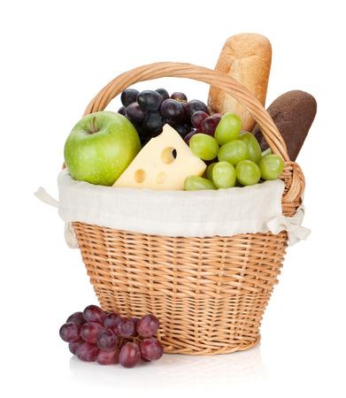 canasta de panes: Cesta de picnic con pan y frutas.