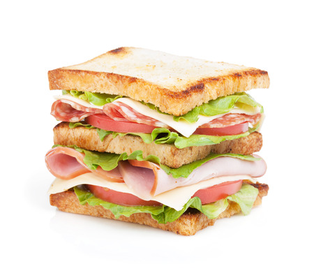 Toast sandwich with meat and vegetables. photo