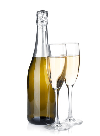 Champagne bottle and two glasses. Isolated on white background photo