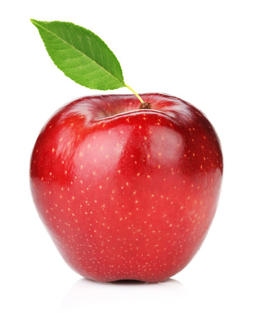 Ripe red apple with green leaf. Isolated on white background photo