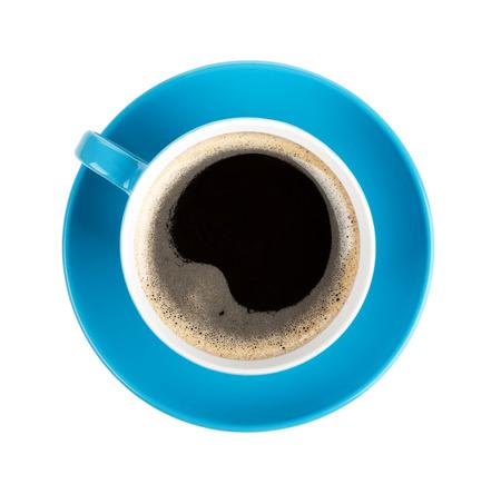 filiżanka kawy: Niebieski kubek kawy. Widok z góry. Pojedynczo na białym tle