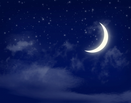 moon  light: Moon and stars in a cloudy night blue sky background Stock Photo