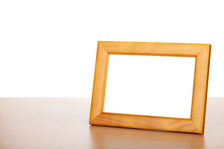 picture window: Photo frame on wood table. Isolated on white background Stock Photo