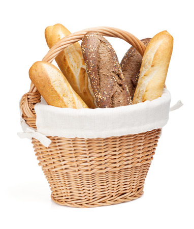 baguet: Various of french baguette basket. Isolated on white background