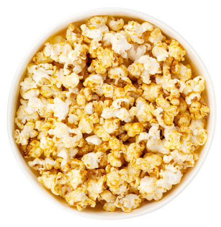 Popcorn box. Isolated on white background. View from above photo