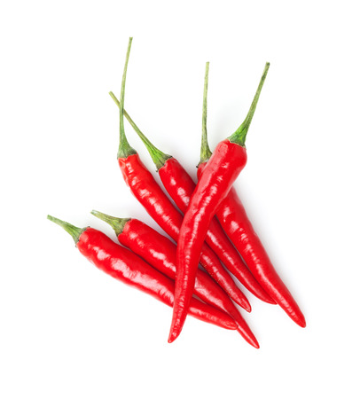 Red hot chili peppers. Isolated on white background