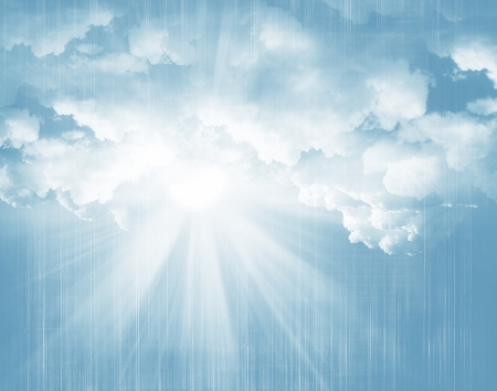 Sunlight, blue sky and clouds grunge background
