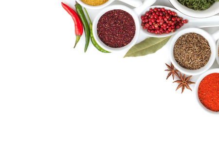 Various spices selection. Isolated on white background Stock Photo