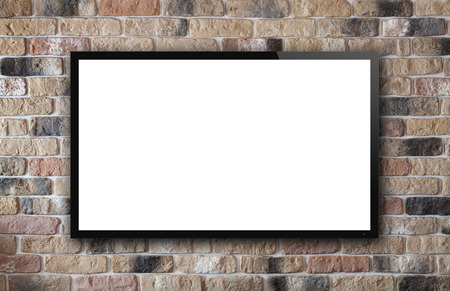 flat display panel: TV display on old brick wall background