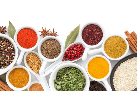 indian spice: Various spices selection. Isolated on white background Stock Photo