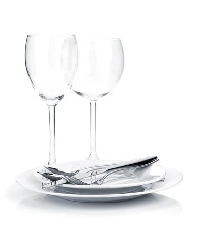 銀またはプレートとワインのガラス食器 写真素材