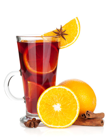 mulled: Christmas mulled wine with orange and spices. Isolated on white background