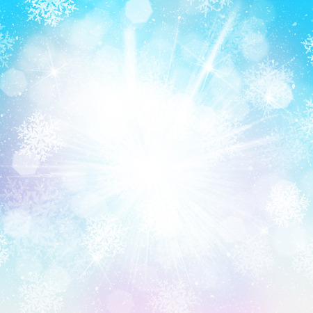Blurred bokeh christmas background with snowflakes photo