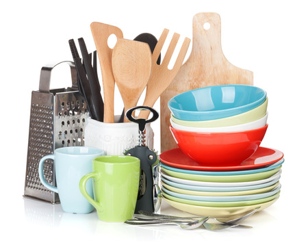 household objects equipment: Cooking equipment. Isolated on white background Stock Photo