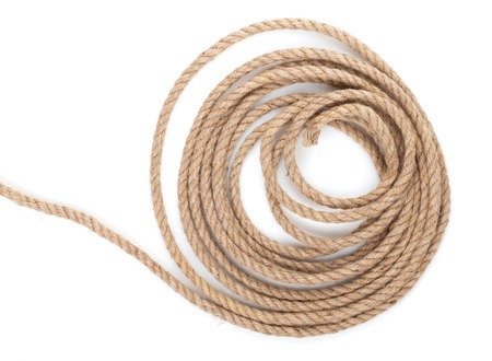Roll of ship rope. Isolated on white background photo