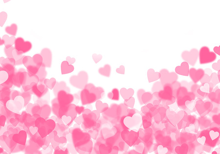 Valentines day pink hearts bokeh background with copy space