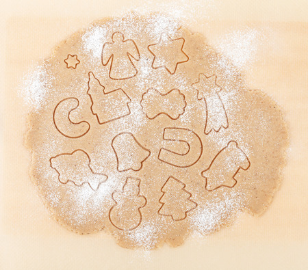 Gingerbread dough for christmas cookies texture photo