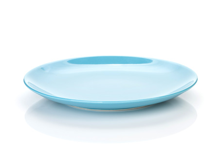 empty plate: Blue empty plate. Isolated on white background