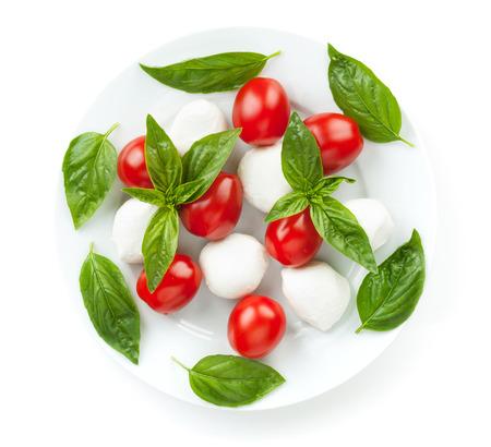 mozzarella cheese: Caprese salad. Isolated on white background