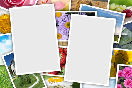 Stack of printed pictures collage with copy space for your photos photo