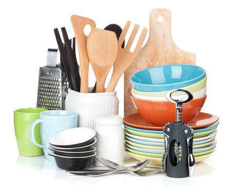 Equipo de cocina. Aislado en el fondo blanco Foto de archivo