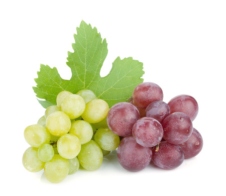 clusters: White and red grapes. Isolated on white background