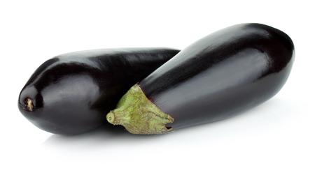 Two eggplants. Isolated on white background photo