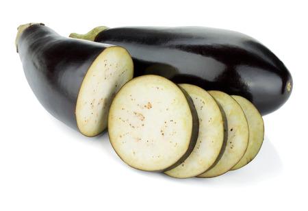 Sliced eggplants. Isolated on white background photo