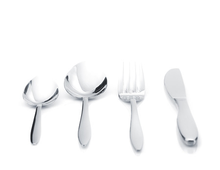 Silverware Or Flatware Set Of Fork, Spoons And Knife Isolated ...