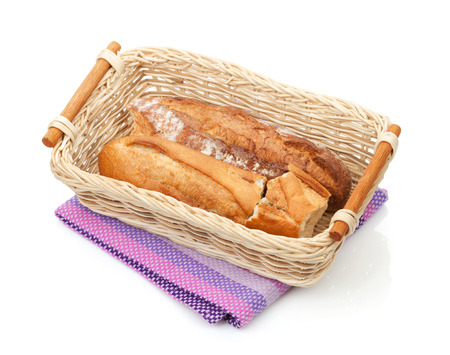 Homemade french bread. Isolated on white background photo