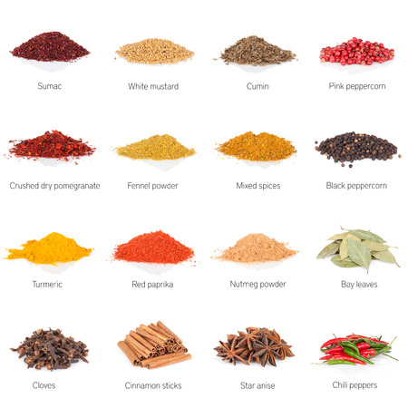 indian mustard: Different spices. Isolated on white background Stock Photo