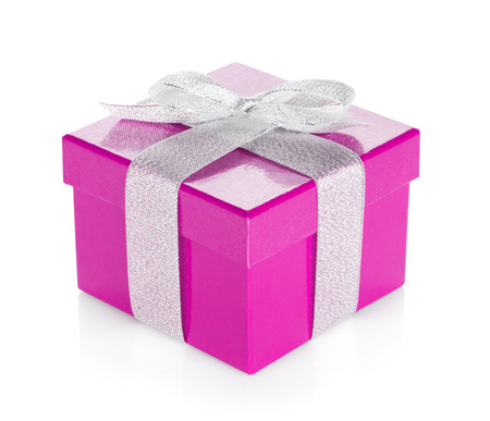 Purple gift box with silver ribbon and bow. Isolated on white  Stock Photo