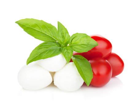 Mozzarella cheese with cherry tomatoes and basil. Isolated on white background Banco de Imagens