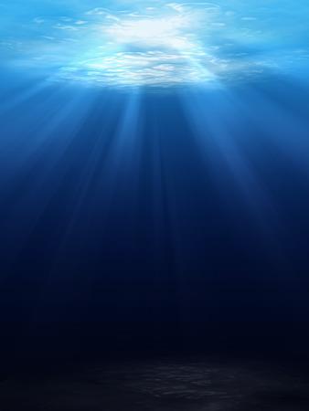 sea bottom: Underwater scene background with sunlight
