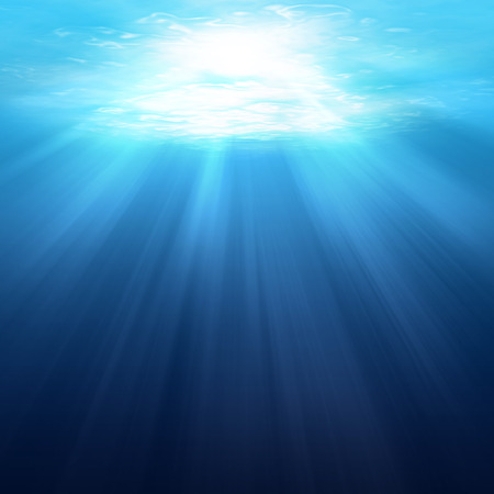 light beam: Underwater scene background with sunlight