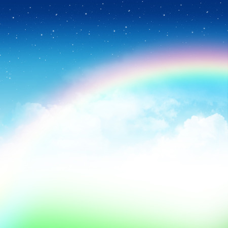 sun beam: Cloudy blue sky with rainbow and stars abstract background