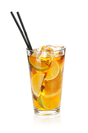 ice lemon tea: Glass of ice tea with lemon and lime. Isolated on white background