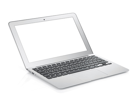 netbook: Netbook with white blank screen. Isolated on white background
