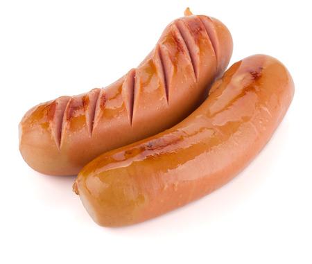 chorizos asados: Dos salchichas a la parrilla. Aislado sobre fondo blanco Foto de archivo