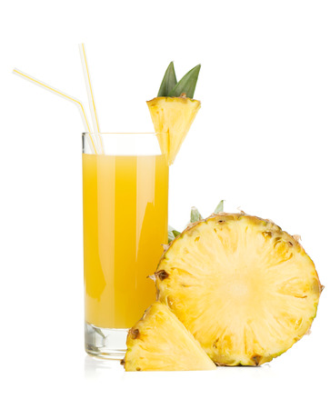 pineapple  glass: Ripe pineapple and juice glass. Isolated on white background