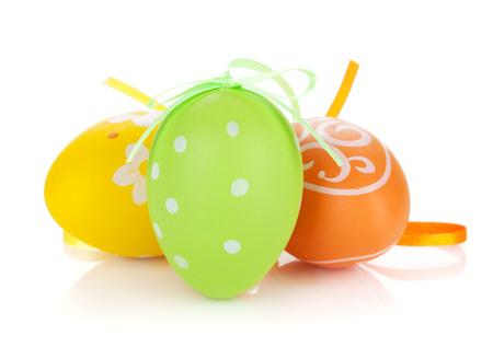 Colorful easter eggs. Isolated on white background