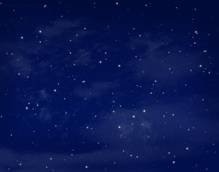cloudy night sky: Stars in a night blue sky background Stock Photo