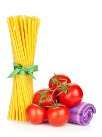 Pasta with tomatoes. Isolated on white background photo