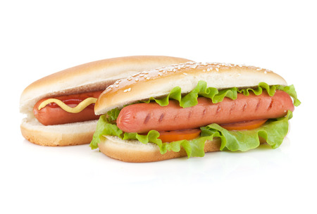 hotdog: Two hot dogs with various ingredients. Isolated on white background Stock Photo