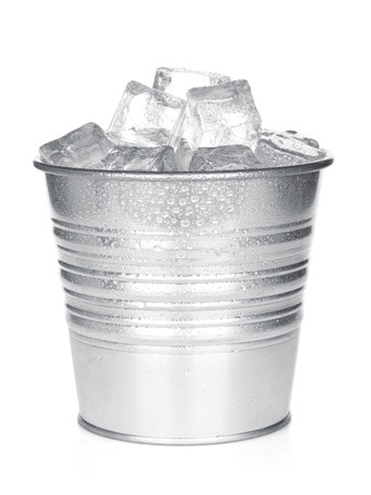 steel bucket: Bucket with ice cubes. Isolated on white background Stock Photo